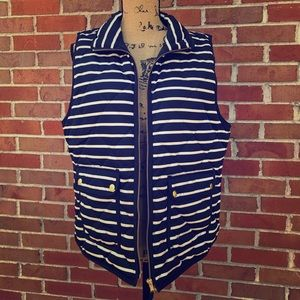J. Crew Nautical Striped Quilted Down Puffer Vest